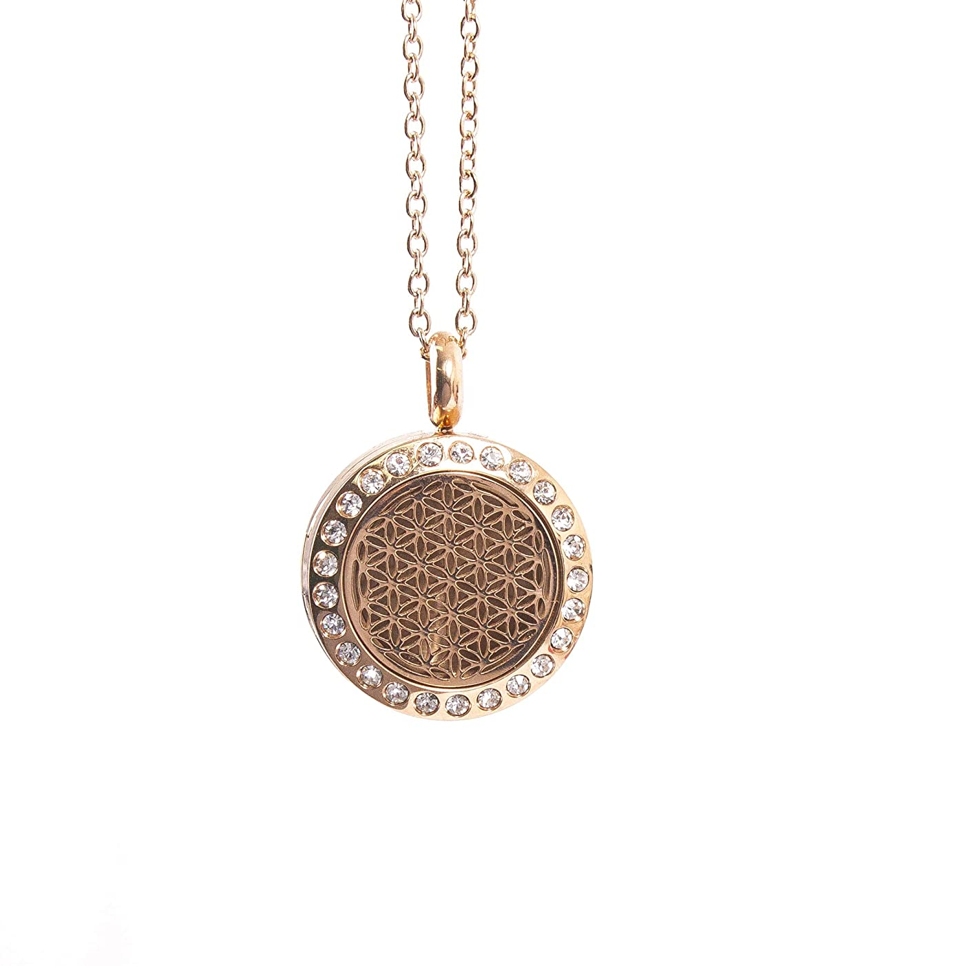 リース抽選お誕生日Mystic Moments | Flower of Life | Aromatherapy Oil Diffuser Rose Gold Necklace Locket with Pad