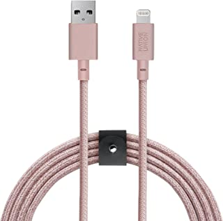 Native Union Belt Cable XL - 10ft Ultra-Strong Reinforced [Apple MFi Certified] Durable Lightning to USB Charging Cable with Leather Strap for iPhone/iPad (Rose)