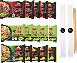 Pancit Canton Variety - 3 Flavor Assortment, 5 of each Citrus Kalamansi, Chilimansi and Hot Chili - (Pack of 15) and 365 Asian Store chopsticks