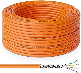 deleyCON 50m Cat.7 Cable de Instalación Cobre Rígido S/FTP PIMF Cable de Red Cable de Instalación Cable LAN Cable de Ether...