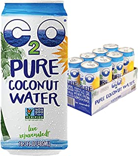 C2O Pure Coconut Water - Plant Based, Non-GMO, No Added Sugar, Essential Electrolytes - 16.3 FL OZ (Pack of 8)