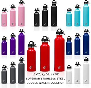 Day 1 Fitness Stainless Steel Water Bottle Standard Mouth with Carabiner (18 oz, 23 oz, or 27 oz) - 3 Size and 8 Color Options – Vacuum Insulated, Double Walled, Powder-Coated Sweat Proof Thermos