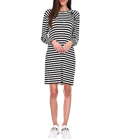 MICHAEL Michael Kors Stripe Lace-Up Long Sleeve Dress (Black/White) Women