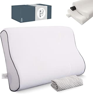 بالش تخت خواب TOLEKE ، بالش پشتی گردن مموری فوم ، بالش تختخوابی گردنی با روکش بامبو قابل تنفس ، زیرانداز قابل تنظیم برای معده ، کناره خواب ، پشت خواب (ملکه)
