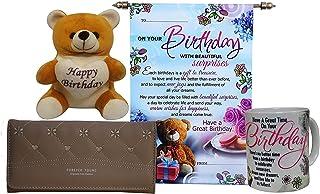 Saugat Traders Coffee Mug, Scroll Card, Womens Wallet & Soft Teddy Bear - Birthday Gift for Wife-Girlfriend-Sister-Friend