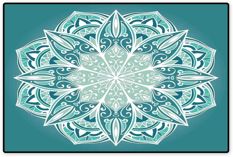 Turquoise Door Mat Indoors Spiritual Ritual Mandala Symbol Pattern Asian Universe Metaphysical Cosmos Sign Floor Mat Pattern 32 x48  Teal White