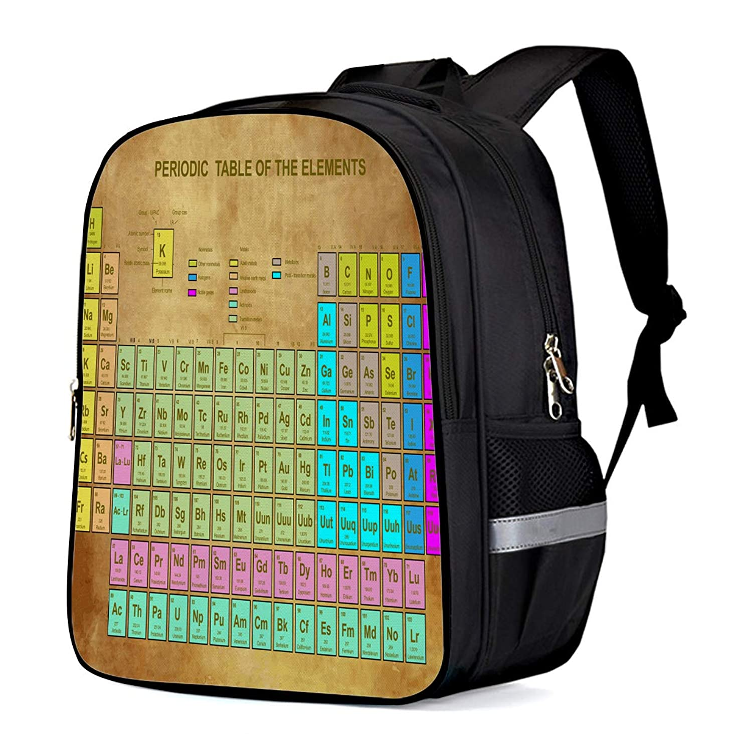 Backpack for Children/Boys/Girls Vintage Brown Paper Periodic Table of the Elements 3D Printing Shool Book Bag Daypacks Satchel Rucksack Hiking Travel Shoulders Bag Fits Laptop- Small