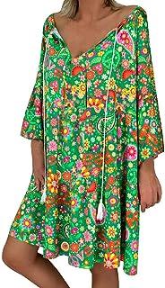 JUTOO Damen Lose Minikleid, Blumendruck DREI Viertel Ärmel Minikleid Sommerkleid Beach Party Kleid Freizeitkleid