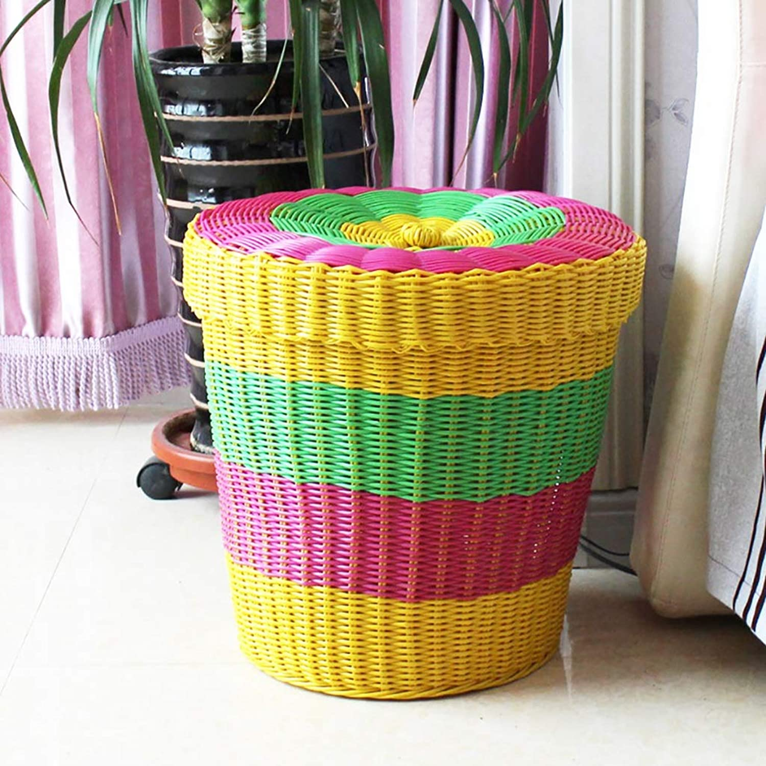 FANGFA Storage Baskets Plastic Hand Weaving Living Room Bedroom Clothes Toy Storage Box with lid Pink and Yellow (color   Yellow, Size   DH 40  37cm)