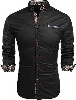 JINIDU Men's Fashion Shirt Casual Slim Fit Long Sleeves Button Down Dress Shirt