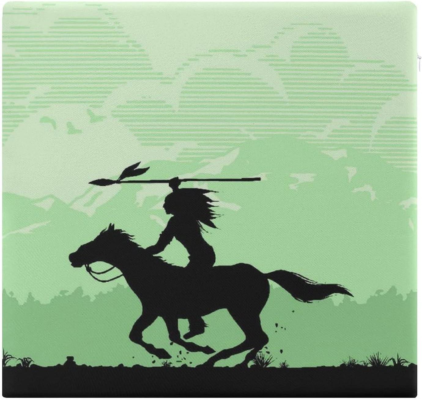 Cojines de Suelo Cuadrados,Cojín de Asiento de cojín de Silla,América Silueta de los Indios nativos Americanos a Caballo con Lanza,Sentado para Oficina,hogar,Suave Espesar