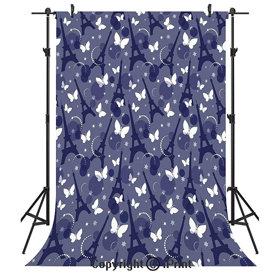 Paris Photography Backdrops,Vibrant Color Eiffel Tower Background with Stars and Butterflies City of Fashion Decorative,Birthday Party Seamless Photo Studio Booth Background Banner 10x20ft,Bluegrey In