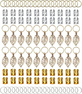 100pcs Gold & Silver Hair Rings Aluminum Dreadlocks Beads Gold Leaves Pendant Decorations Metal Cuffs Braid Jewelry for Ha...