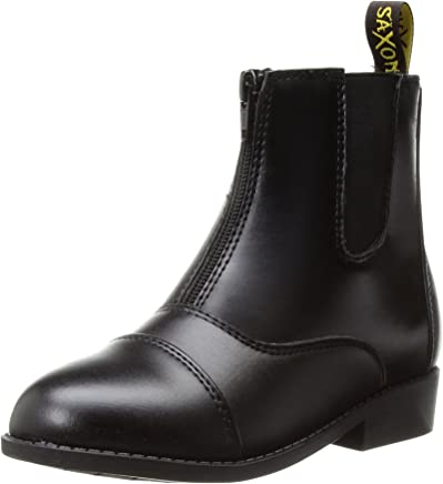 Saxon Women's Equileather Zip Front Boots, Black, Size 5.5
