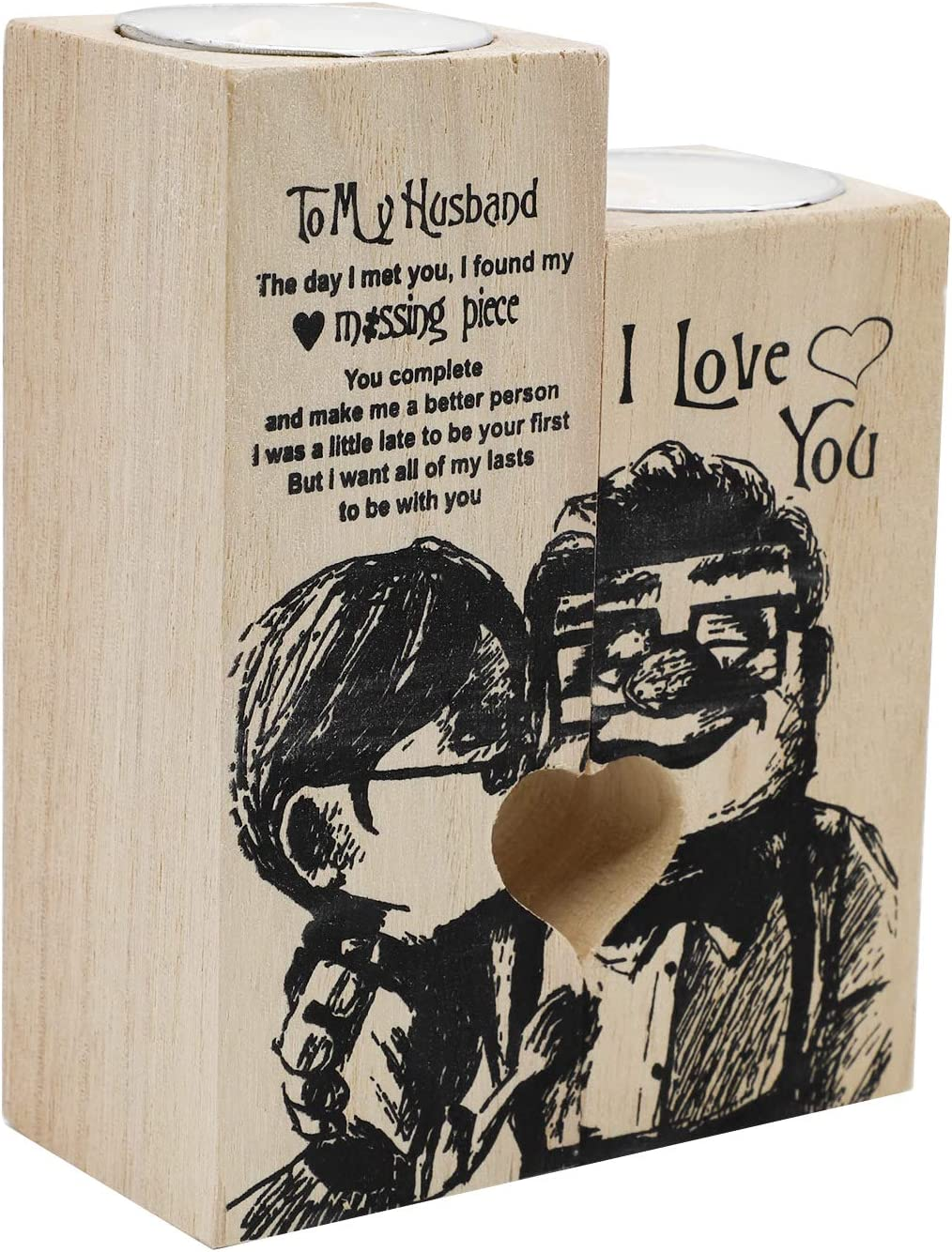 Heart-Shaped Wooden Candle 5 ☆ popular Holder to My Department store Hear Romantic Girl Love