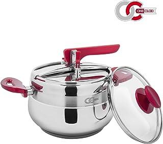 OneClod - Olla a presión Floria, 5 L, acero inoxidable, válvula de seguridad, apta para inducción, receptáculo y tapa de cristal incluido, recomendado por chef, certificado CE - Olla a presión
