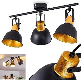 Lámpara de techo Borik de metal, 3 focos, con focos ajustables, 3 casquillos E14, máx. 25 W, diseño retro, apta para bombillas LED