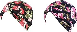 قبعة عمامة قطنية للنساء بطباعة الأزهار من دينبري، قبعة ناعمة مطوية كيميائية، قبعة للنوم مع فقدان الشعر السرطاني