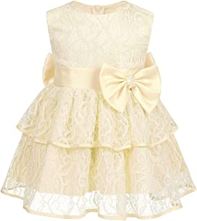 YEHAOFEI Baby Girls Dress Sequin Bowknot Tutu Flower Birthday Party Wedding Gown Kids Dresses with Headwear