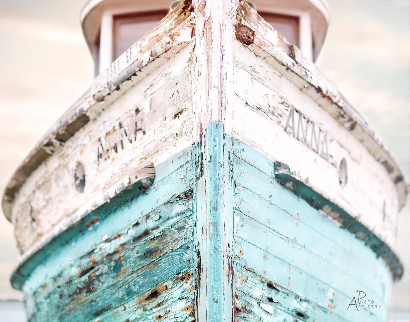 Nautical Ship Image - Fine Art White Photo Translated colors Aqua Branded goods and Off