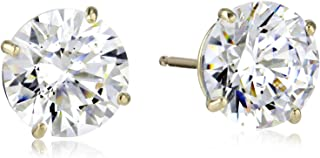 Jewelili 10K Gold Stud Earrings set with 7mm Round Cut Swarovski Zirconia (3 cttw)