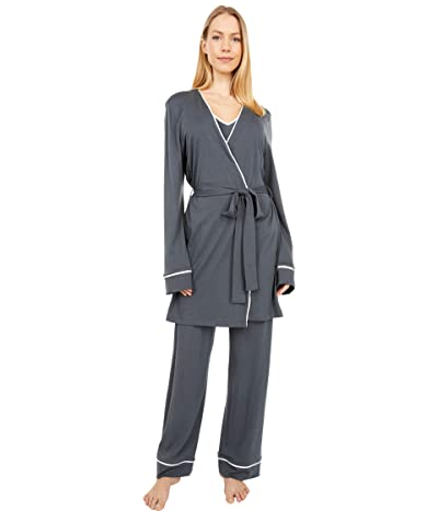 Cosabella Bella Curvy Cami Pants and Robe Set (Anthracite/Ivory) Women