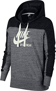 Womens Gym Vintage Pull Over Graphix Hoodie Black/Carbon Heather/Cool Grey AV8298-010 Size Small