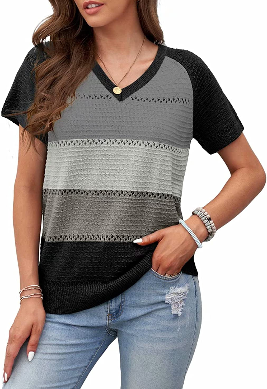 BLENCOT Womens Summer Short Sleeve Pullover Tops V Neck Color Block Tunics Casual Loose Fit Knit Blouses Shirts