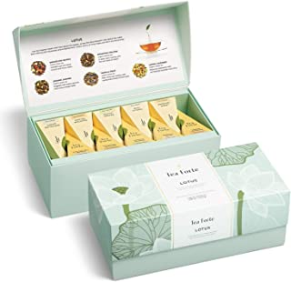 Tea Forte Lotus Presentation Box Tea Sampler, Assorted Variety Tea Box, 20 Handcrafted Pyramid Tea Infuser Bags, Black Tea, Green Tea, Oolong Tea, White Tea, Herbal Tea