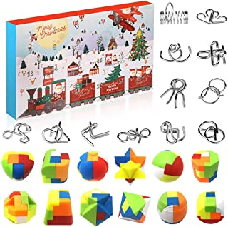 Metal Wire and Plastic Puzzles Advent Calendar 2021 Christmas Countdown Calendar Xmas Gift Box with 24 Pieces Magic Brain ...