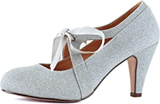 600284f0698 Womens Vintage Mary Jane Pumps Low Kitten Heels Retro Round Toe Shoe with  Ankle Strap