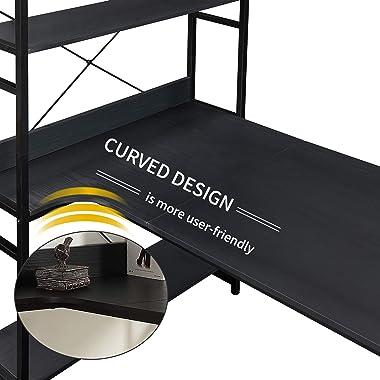 JIYUANDAO,Home Office Computer Desk——Metal Frame and MDF Board/5 Tier Open Bookshelf/Plenty Storage Space(Black)