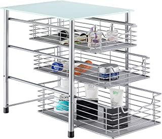 FlagShip 3 Tier Crystal Tempered Glass Pull-Out Organizer Baskets with Mesh Sliding Drawers (Silver)