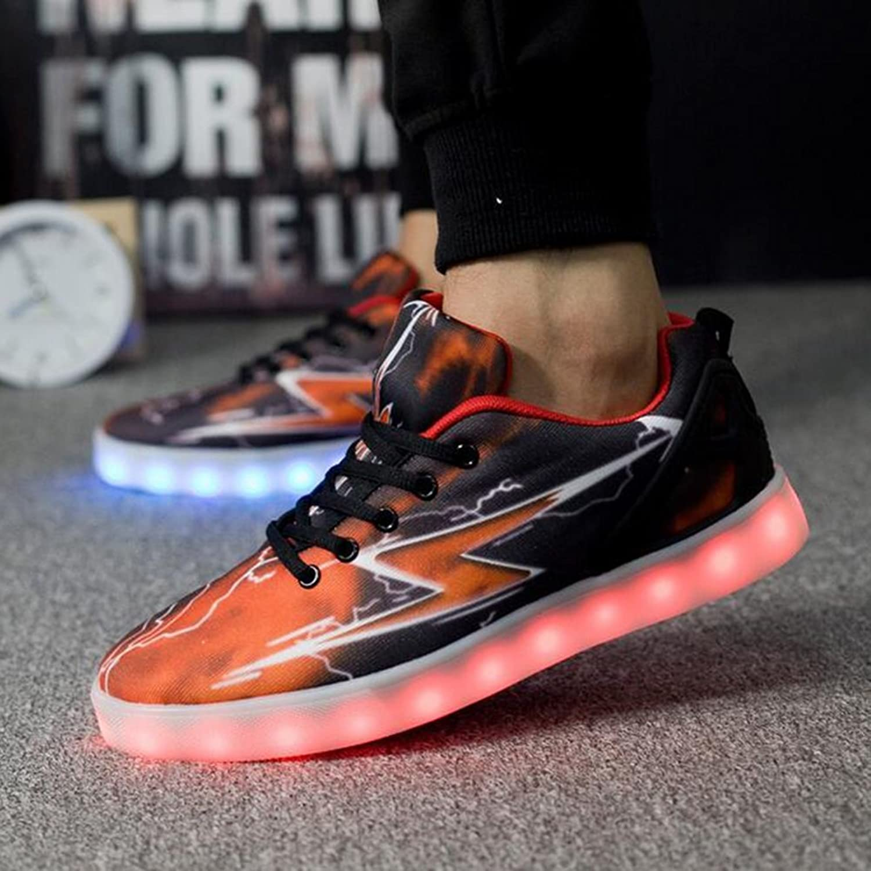 HUAN LED shoes Mens Casual shoes Couples 7 colors Flashing shoes Canvas shoes Low-Top Sneakers (color   orange)