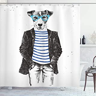 Ambesonne Quirky Shower Curtain by, Dressed Up Hipster Dog with Glasses Hand Drawn Sketchy Fashion Animal Fun, Fabric Bathroom Decor Set with Hooks, 84 Inches Extra Long, Black White Blue