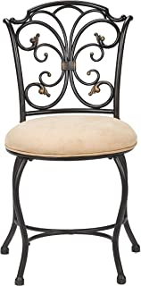 Hillsdale Furniture 50833A Sparta Vanity Stool, Black with Gold Highlighted Accents (Renewed)