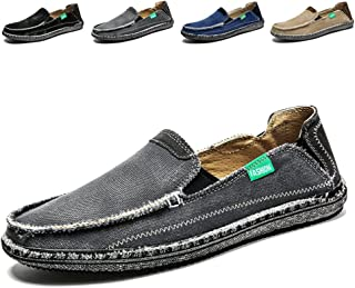Mens Slip on Deck Shoes Loafers Canvas Boat Shoe Non Slip Casual Loafer Flat Outdoor Sneakers