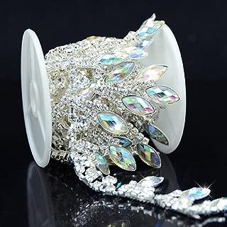 De.De. 1 Yard AB Resin Crystal Applique Rhinestone Bridal Trim Fashion Chain Fringe Embellishment Silver