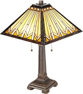 CO-Z 2-Light Tiffany Mission Style Table Lamp, Geometry Shape Art Stained Glass Lamp Shade UL Listed. (Mission Tiffany Lamp)