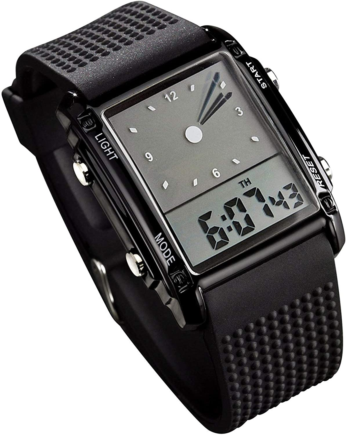 Men's Rectangle Popularity Dial Sports Wrist with Colors 7 Max 50% OFF Watches Optional
