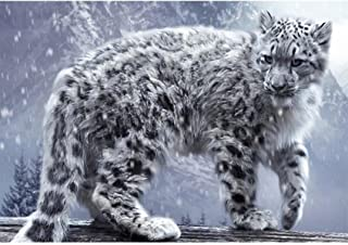 Lavany 5D Diamond Painting Kit,Snow Leopard,Full Drill Clearance DIY Cross Stitch 5D Paintings Crystal Rhinestone Embroidery Cross-Stitch Stamped Kits (Snow Leopard❤40X30cm)