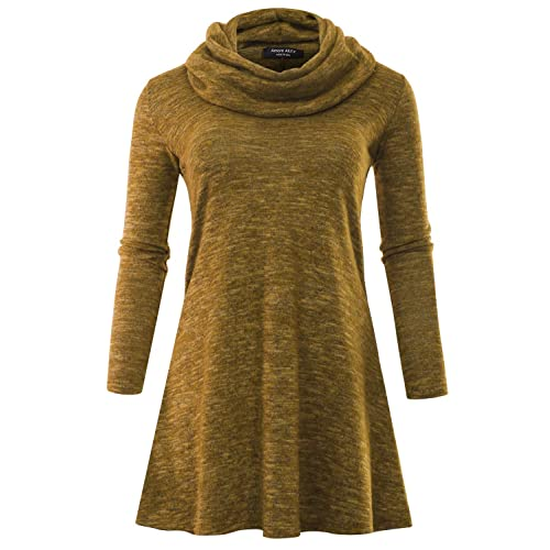 74246d5dbe4 A.F.Y Women s Marled Cowl Neck Plus Size Tunic Sweater Dress (Made in USA)  Mustard