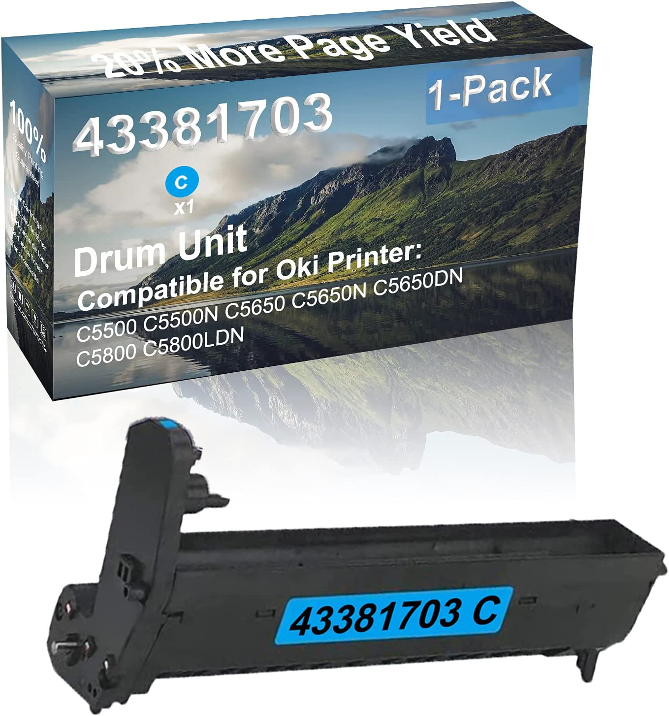 1-Pack (Cyan) Compatible C5650N C5650DN Printer Drum Kit High Capacity Replacement for Oki 43381703 Drum Unit