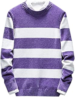 KLJR Men Knitted Stripe Print Thicken Pullover Crew Neck Color Block Sweater