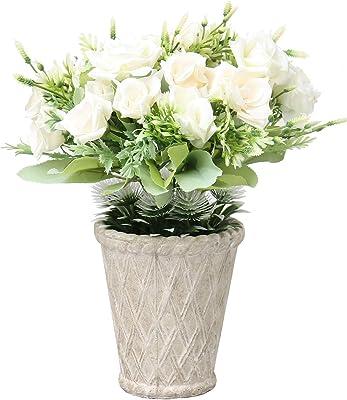 SAROSORA Fake Flowers Artificial Rose Home Decor for Wedding Festival Indoor Office Decoration (White, White Pot)