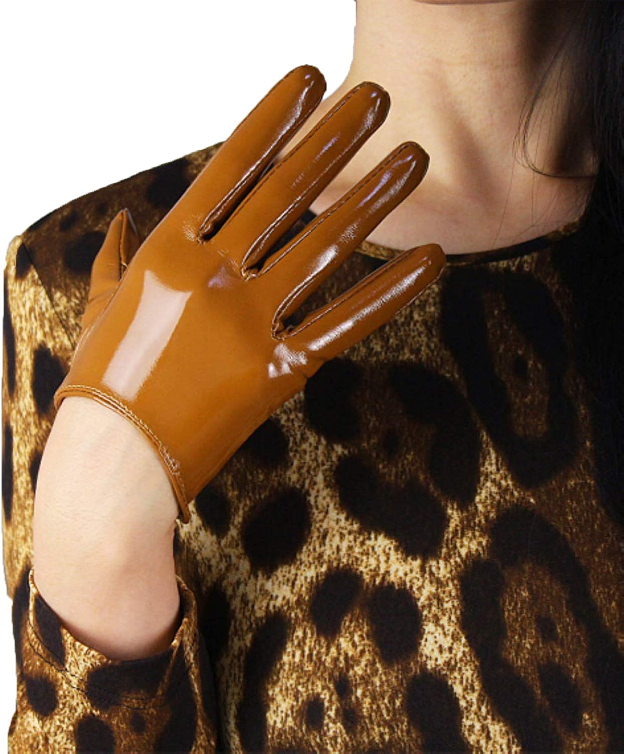 DooWay Sexy Elastic Shiny Mittens Gloves PU Latex Cosplay Finger Gloves for Opera Costume Club Driving