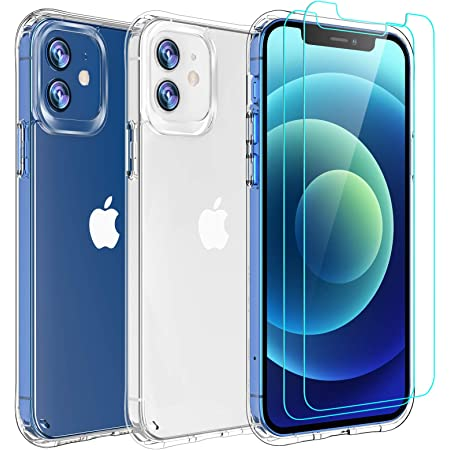 AEDILYS Compatible with iPhone 12 mini Case (2020),[Airbag Series] with [2 x Tempered Glass Screen Protector] [ Military Grade ] | 15Ft. Drop Tested [Scratch-Resistant] 5.4 Inch- Clear