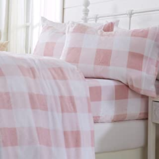Great Bay Home Extra Soft Cozy Velvet Plush Sheet Set. Deluxe Bed Sheets with Deep Pockets. Velvet Luxe Collection (Twin, Buffalo Check - Blush Pink)