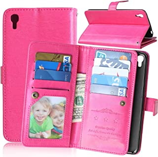 IDOL 3 Case ALCATEL ONE TOUCH IDOL 3 Wallet Case,Bat King [Multi Card Wallet] Premium PU Leather Wallet with Built-in 9 Card Slots Folio Flip Case for ALCATEL ONE TOUCH IDOL 3 5.5 inch(Hot Pink)