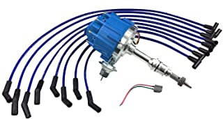 A-Team Performance HEI Distributor 65K Volt Blue Cap, 8mm Silicone Spark Plug Wires Blue and Pigtail Wiring Harness Kit Compatible with SBF Small Bock Ford 221 260 289 302